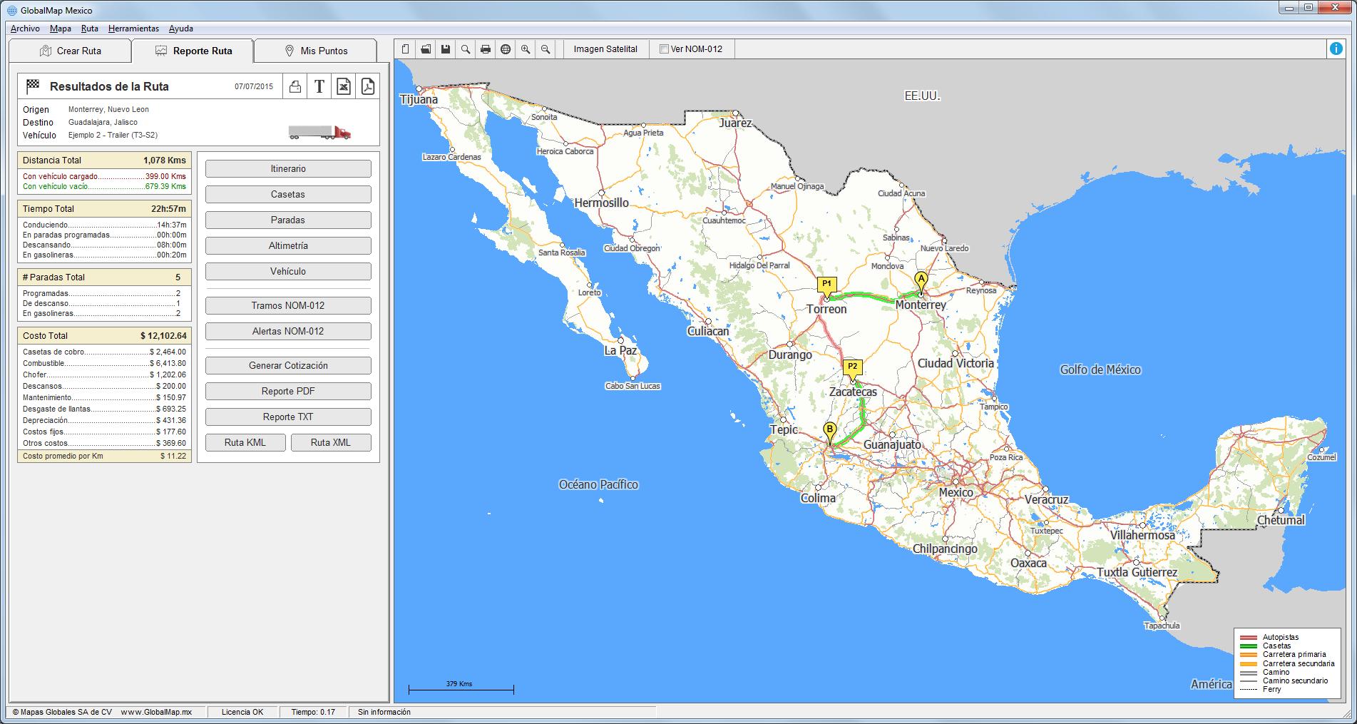 global map de mexico: